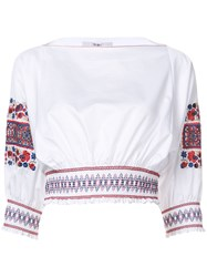 Tibi Floral Embroidery Blouse Women Cotton Xs White