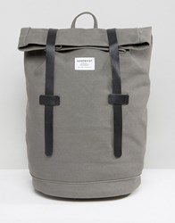 Sandqvist Sonja Rolltop Bakpack In Cotton Canvas With Leather Trims Grey