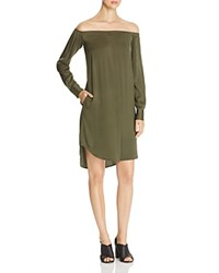 Dkny Off The Shoulder Silk Shirt Dress Military