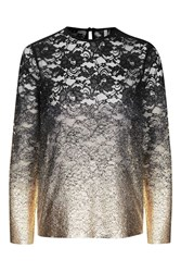 Topshop Ombre Gold Foil Lace Top Navy Blue