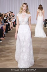 Ines Di Santo Women's 'Inspired' Embellished Neck Cap Sleeve Lace A Line Gown