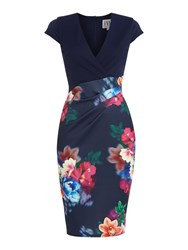Jessica Wright Cap Sleeve Print Skirt Bodycon Dress Navy