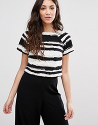Girls On Film Stripe T Shirt Black White