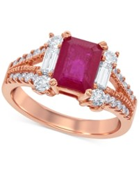 Macy's Ruby 1 3 4 Ct. T.W. And Diamond 7 8 Ct. T.W. Ring In 14K Rose Gold Red