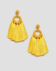 Monki Tassel Earrings In Yellow Orange