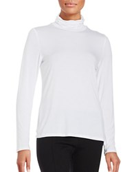 Calvin Klein Turtleneck Jersey Knit Top True White