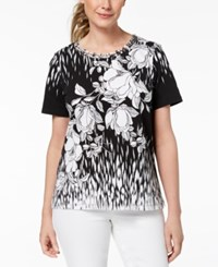 Alfred Dunner Barcelona Printed Lattice Neck Top Black