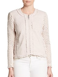 Rebecca Taylor Dot Punch Tweed Jacket Queen Pink