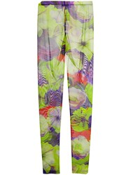 Msgm Floral Leggings Green