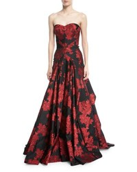 Zac Posen Strapless Floral Printed Evening Gown W Full Skirt Red Pattern
