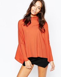 Daisy Street Ribbed Turtle Neck Cape Top Rust