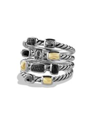 David Yurman Confetti Ring With Black Onyx Black Diamonds And Gold