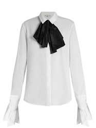 Isa Arfen Bow Front Cotton Shirt White