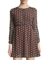 Goldie London Desert Drive Floral Print Fit And Flare Dress Blue