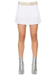 Fendi Lurex Logo Pleated Mesh Mini Skirt