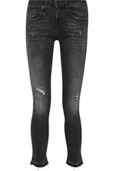 R 13 R13 Alison Distressed Low Rise Skinny Jeans Charcoal