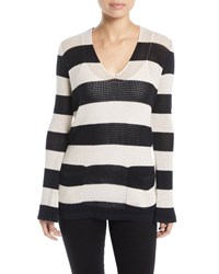 Minnie Rose Striped Mesh Cotton Linen Sweater Black Doeskin