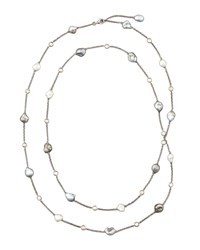 18K Gray Keshi Pearl And Diamond Station Necklace 36'L Eli Jewels White