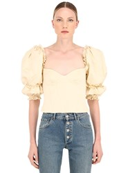 Brock Collection Ruffled Cotton Blend Poplin Bustier Top Beige