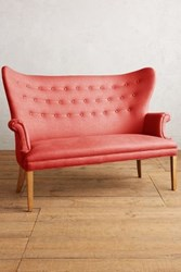 Anthropologie Linen Wingback Bench Red