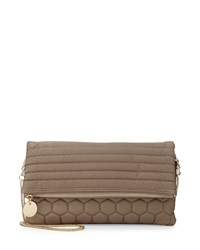 Deux Lux Quilted Honeycomb Fold Over Clutch Bag Mink