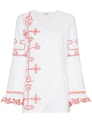 Ganni Peony Embroidered Tunic Top White