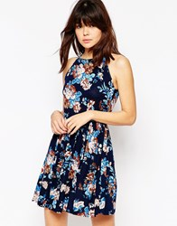 Asos Empire Seam Sundress In Navy Floral Print Multi