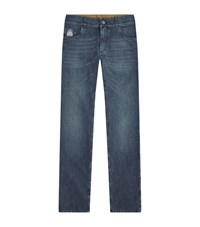 Billionaire Urban Fit Embroidered Wolf Jeans Male Light Blue