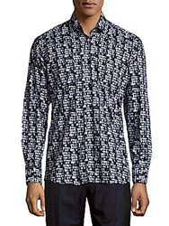 Bertigo Cotton Tile Print Button Down Shirt Blue