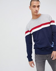 Another Influence Chest Stripe Crew Neck Sweat Navy