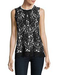 Karl Lagerfeld Lace Accented Shell Black