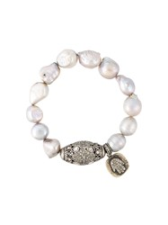 Loree Rodkin Diamond Ball And Pearl Bracelet Grey