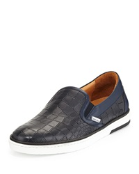 Jimmy Choo Men's Croc Embossed Leather Skate Sneaker Navy