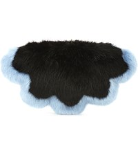 Shrimps Flower Faux Fur Clutch Black Sky Blue