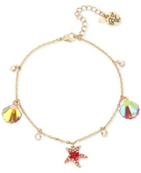 Betsey Johnson Gold Tone Sea Themed Charm Ankle Bracelet Coral