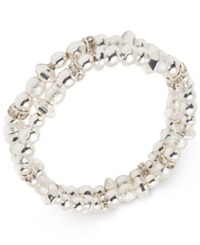 Nine West Silver Tone 2 Pc. Set Bead And Crystal Stretch Bracelets