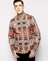 Hype X Noose And Monkey Shirt With Renaissance Print In Skinny Fit Gold