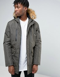 Good For Nothing Parka With Faux Fur Hood Green