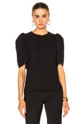 Victoria Beckham Gathered Sleeve Top In Black