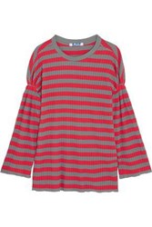 Steve J And Yoni P Striped Ribbed Cotton Top Red