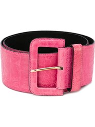 Gianfranco Ferre Vintage Embossed Crocodile Effect Belt Pink And Purple