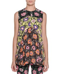 Marni Sleeveless Floral Print Babydoll Tunic Black Women's