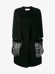 Fendi Cashmere And Silver Fox Fur Coat With Cape Sleeves Black Silver