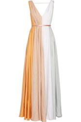 Raoul Sarina Belted Color Block Silk Twill Gown Taupe