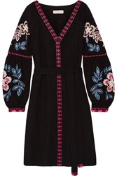 Tory Burch Therese Embroidered Cotton Mini Dress Black