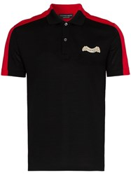 Alexander Mcqueen Logo Embroidered Two Tone Polo Shirt Black