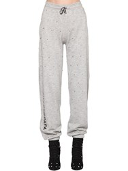 Filles A Papa Embellished Cotton Jersey Track Pants Grey
