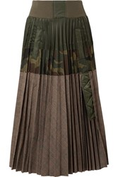 Sacai Pleated Shell And Printed Cotton Blend Midi Skirt Army Green
