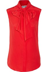 Moschino Pussy Bow Silk Top Red