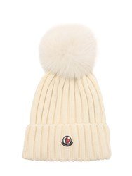 Moncler Wool Knit Beanie Hat W Fox Pompom